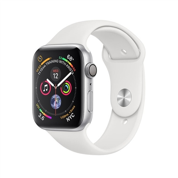 Apple Watch Series 4 GPS 44mm Silver Aluminium Case with Sport Band - White MU6A2